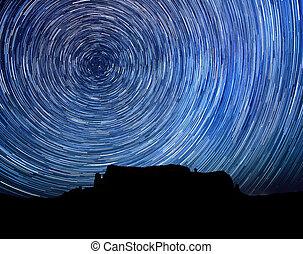 csillag, kép, hosszú, nyom, éjszaka, kitevés