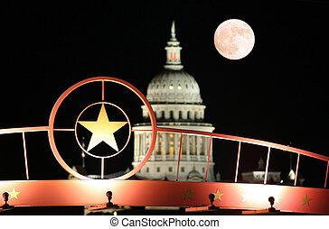 csillag, közül, texas, noha, a, helyzet capitol épület, éjjel