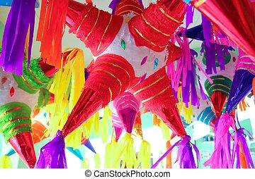 csillag, pinatas, hagyományos, alakít, mexikói, ünneplés