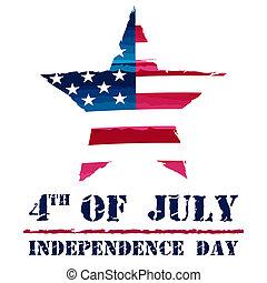 csillag, usa, -, lobogó, amerikai, 4 july, rajz, szabadság