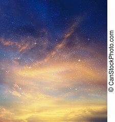 csillaggal díszít, és, éjszaka ég, mint, háttér