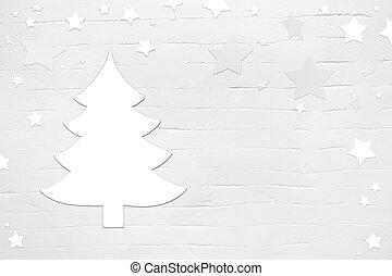 csillaggal díszít, fa, rétegfelhő, háttér, sikk, white christmas, kopott