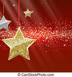 csillaggal díszít, felakaszt, piros, ribbon., háttér, noha, ezüst, és, arany-, ragyogás, dust., vidám christmas, és, boldog {j évet, háttér., sablon, helyett, nagyon fontos személyiség, szalagcímek, kártya, igazolás, voucher., 3, ábra