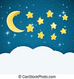 csillaggal díszít, hely, text., ég, ábra, hold, vektor, háttér, éjszaka, karikatúra, felhő