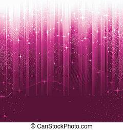 csillaggal díszít, kavarog, hópihe, és, hullámos, megvonalaz, képben látható, bíbor, csíkos, háttér., egy, motívum, nagy, helyett, ünnepies, elfoglaltság, vagy, karácsony, themes.