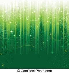 csillaggal díszít, kavarog, hópihe, és, hullámos, megvonalaz, képben látható, zöld, csíkos, háttér., egy, motívum, nagy, helyett, ünnepies, elfoglaltság, vagy, karácsony, themes.