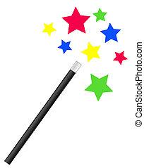 csillaggal díszít, pálca, fényes, varázslatos