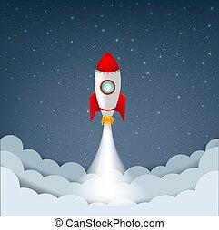 csillaggal díszít, rakéta, ég, karikatúra, felhő
