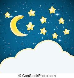 csillaggal díszít, text., keret, ég, ábra, hold, vektor, háttér, éjszaka, karikatúra, felhő