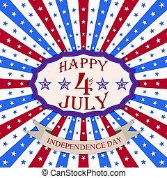csillaggal díszít, usa, ünnepies, 4, vektor, háttér, stripes., július, boldog, nap, szabadság, design.