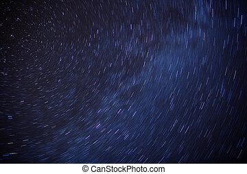 csillagos, éjszaka, -, csillag nyom, képben látható, egy, éjszaka ég