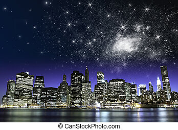 csillagos, éjszaka, felett, új york város, felhőkarcoló