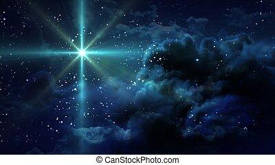 csillagos, éjszaka, zöld