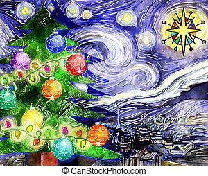 csillagos, karácsony, vízfestmény, éjszaka, fa