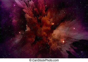 csillagos, mező, izzó, ködfátyol, purple-red