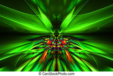 csillogó, egy, fantasztikus, zöld, egyenes, alatt, egy, dühös, indítvány, symmetrically, jár, felett, a, horizon., fractal, művészet, graphics.