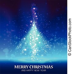csillogó, karácsony, fa.