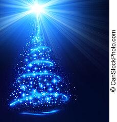 csillogó, karácsonyfa, csillag