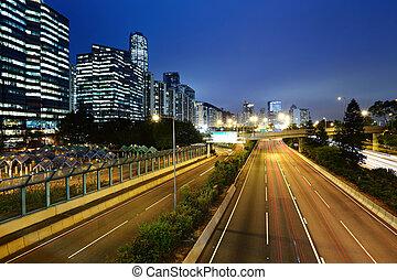 csillogó nyom, alatt, mega, város, autóút