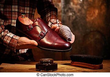 csillogó, rag., cipők, ember