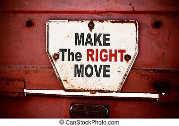 csinál, a, helyes, lépés