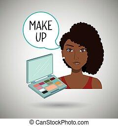 csinál, nő, feláll, kozmetikai