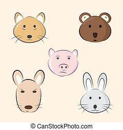 csinos, állatok, karikatúra