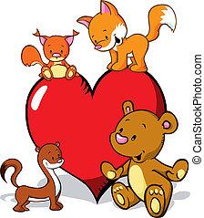csinos, állatok, róka, szív, valentines, -, menyét, hord, karikatúra, mókus