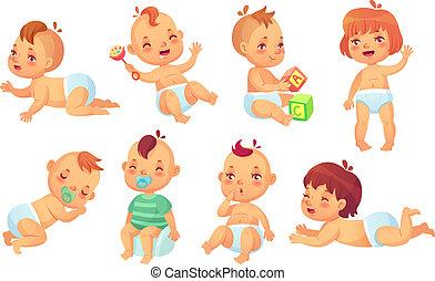 csinos, állhatatos, boldog, betű, elszigetelt, vektor, nevető, kisbabák, mosolygós, totyogó kisgyerek, karikatúra, baby.