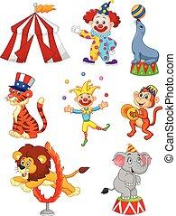 csinos, állhatatos, cirkusz, karikatúra, themed