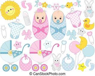csinos, állhatatos, segédszervek, fiú, zápor, vektor, apró, csecsemő lány