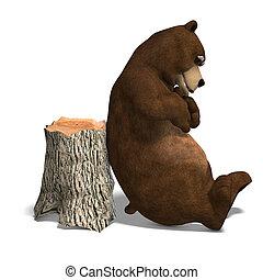 csinos, és, furcsa, toon, bear., 3, vakolás, noha, nyiradék...