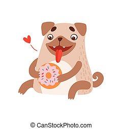 csinos, étkezési, fánk, furcsa, kedvenc, pisze orr, betű, kutya, ábra, vektor, állat, barátságos
