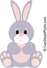 csinos, ülés, ábra, nyuszi, vektor, rabbit., icon., karikatúra