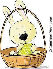 csinos, ülés, húsvét, -, elszigetelt, ábra, vektor, kosár, fehér, befolyás, tojás, nyuszi