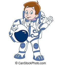 csinos, űrhajós, karikatúra, fiú