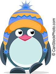 csinos, 3, kéz, húzott, pingvin