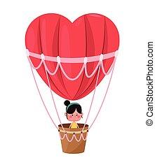 csinos,  airballoon, szív, repülés, kedves, leány, Nap