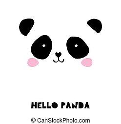 csinos, alapismeretek, ikonok, hord, kéz, panda, vektor, fekete, húzott, fehér, ábra