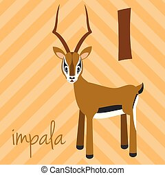 csinos, alphabet:, illustration., furcsa, abc, impala.,...