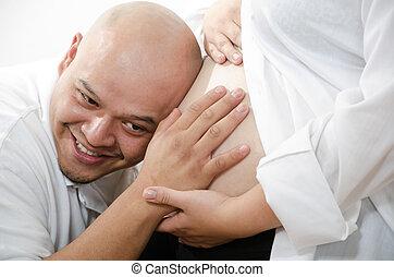 csinos, amerikai, latin, párosít, terhes