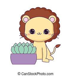 csinos, berendezés, oroszlán, állat, épület