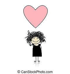 csinos, birtok, szív, -, valentine szent, leány, nap
