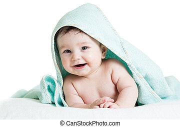 csinos, boldog, csecsemő, alatt, törülközők