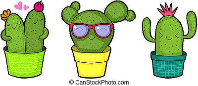 csinos, boldog, kaktusz, karikatúra