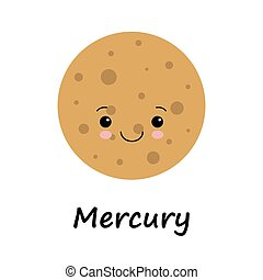 csinos, bolygó, vektor, mercury., gyerekek, ábra