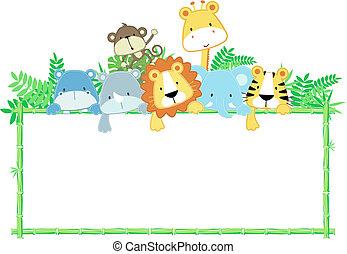 csinos, csecsemő, dzsungel, állatok, keret
