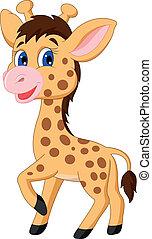 csinos, csecsemő zsiráf, karikatúra