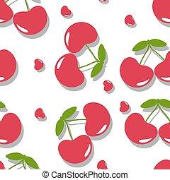 csinos, cseresznye, csepp, seamless, háttér példa, piros, árnyék, fehér