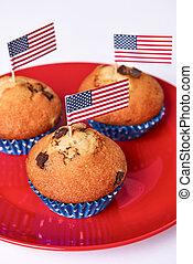 csinos, cupcakes, american lobogó, háttér, fehér